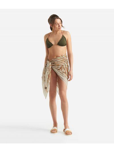Donnavventura Beach sarong with Geo Zebrato print Beige