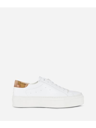 Donnavventura Sneakers in eco-leather and Geo Classic print nappa White