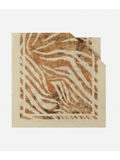 Donnavventura Stole with Geo Zebrato print Beige