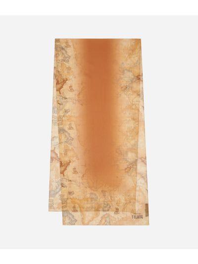 Geo Sfumato print scarf 45 x 180 Orange