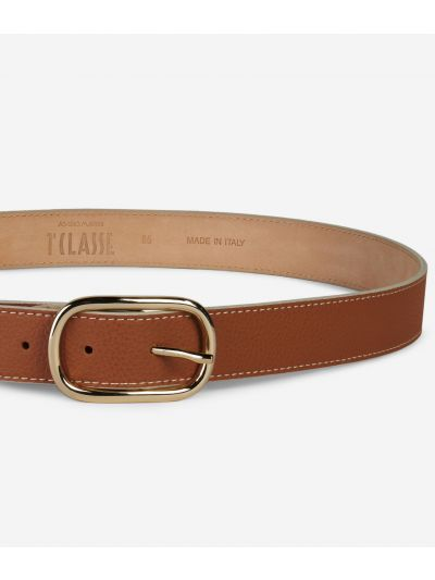 Praline Belt in grainy leather Brown