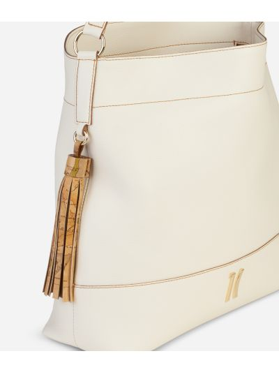 Praline Shoulder Bag in grainy leather White