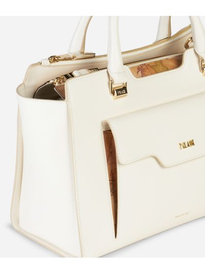 Marrakech Handbag in smooth leather White