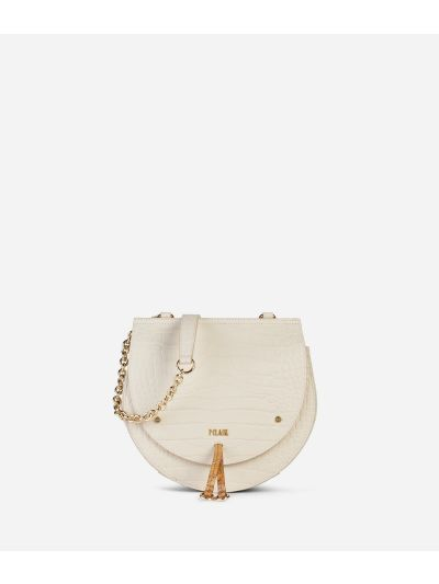 Decoré Crossbody in mock-croc leather Bag White