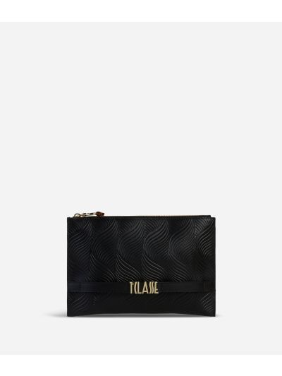 Majorelle Clutch in cowhide leather Black