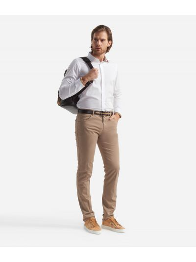 5-pockets slim fit trousers Beige