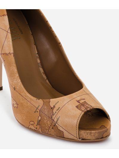 Peep toe sandal in Geo Classic print nappa