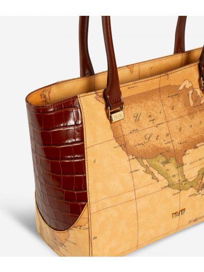 Geo Chic Borsa shopping in tessuto Geo Classic Marrone