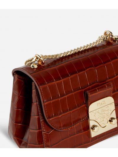 Joy Bag Tracolla in pelle stampa cocco Marrone