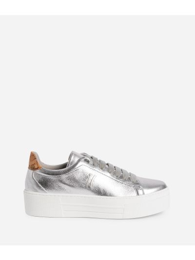 Sneakers in ecopelle laminata Argento