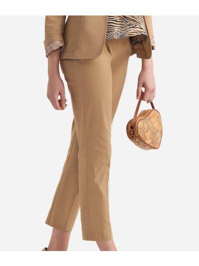 Slim fit pants in gabardine stretch cotton Beige