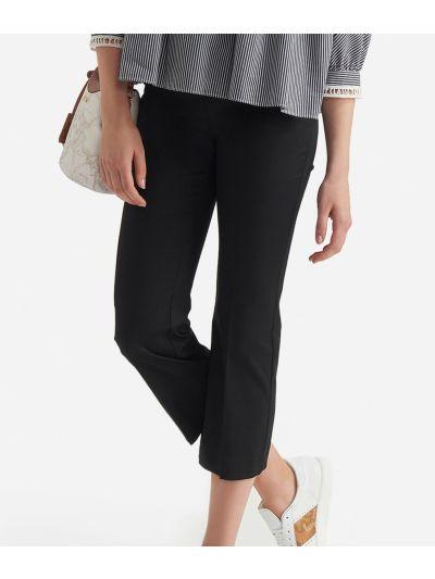 Pantalone a trombetta in gabardine di cotone stretch Nero