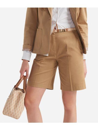 Bermuda shorts in stretch gabardine cotton Beige