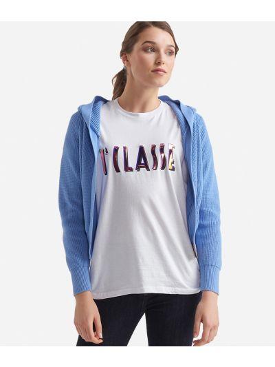T-shirt over a manica corta in jersey di cotone Bianca
