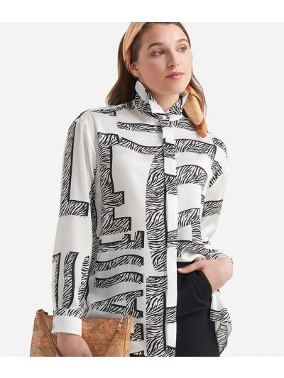 Twill shirt with Maxi Lettering print White and Black