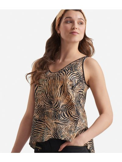 Top in musseline cotton with Geo Tigre print