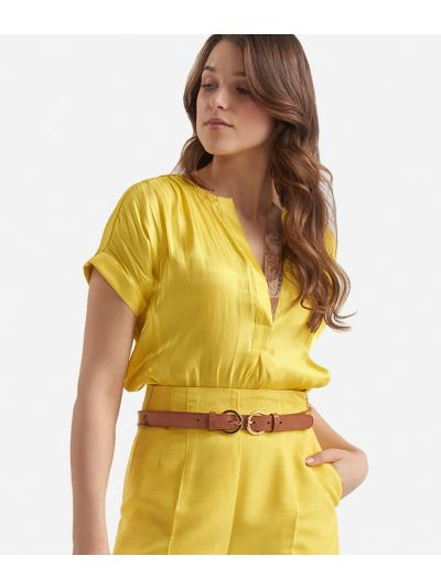 Short sleeves blouse in smooth iridescent fabric Yellow