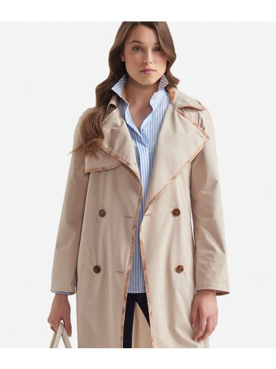 Double-breasted trench in micropoly fabric Beige