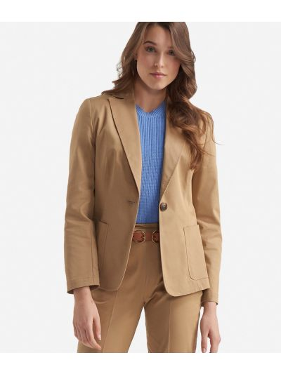 Gabardine stretch cotton unlined blazer Dark Beige