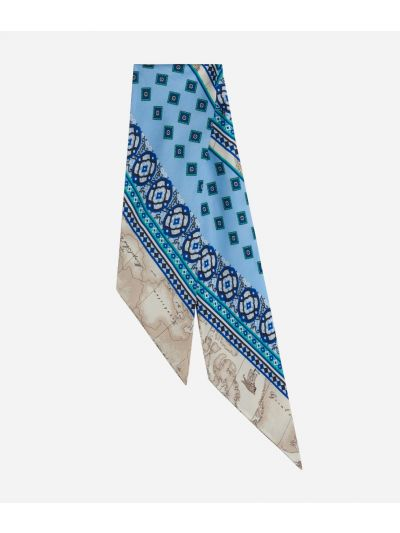 Twill Foulard with Mosaic print Light Blue