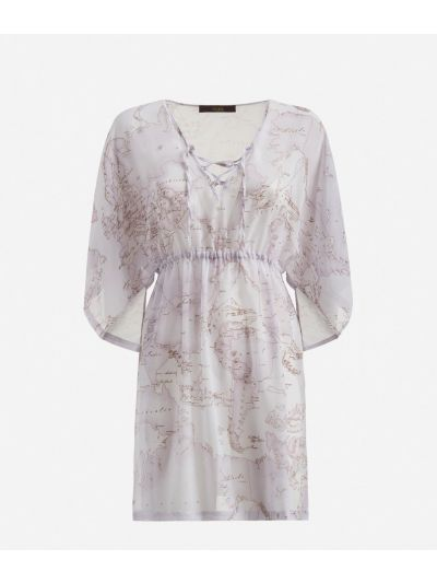 V-neck Kaftan with Geo Color print White