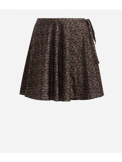Crêpe fabric skirt with Logomania print Black