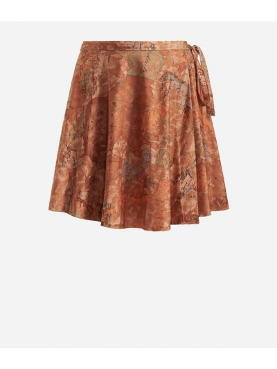 Crêpe fabric skirt with Geo Classic print