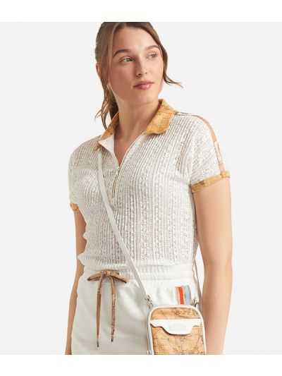 Donnavventura Polo in lace-effect jersey White