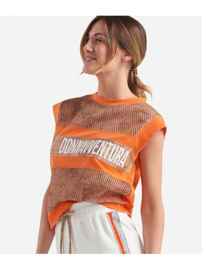 Donnavventura sleeveless t-shirt in jersey cotton Orange