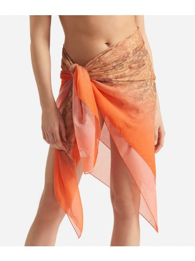 Donnavventura Beach sarongwith Geo Sfumato print Orange