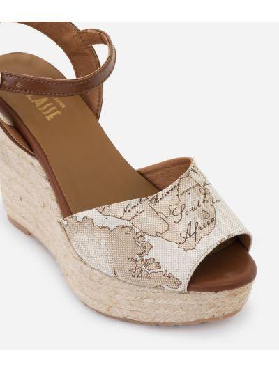 Geo Lino Wedge sandals Beige