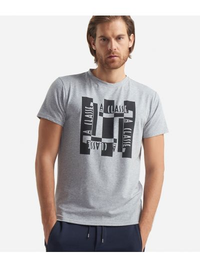 T-shirt with short sleeves and Logo print Grey
