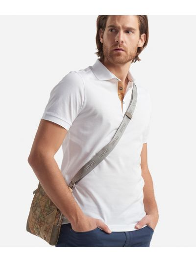 Cotton Polo with short sleeves White