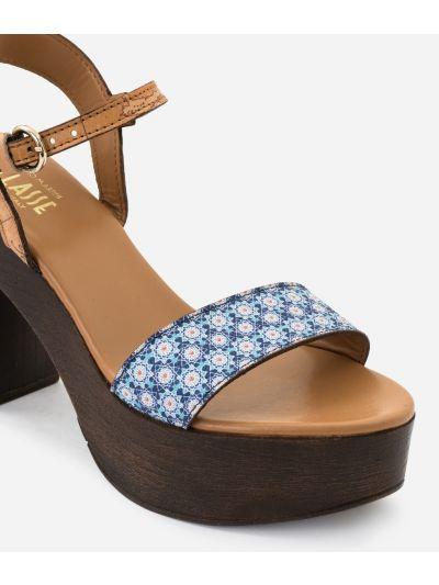 Sandal in Mosaic print fabric Blue