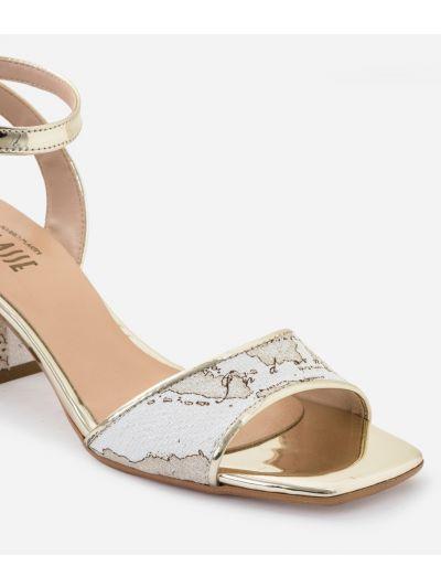 Sandal in Geo Safari print lurex fabric