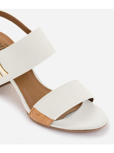 Sandal in grainy cowhide leather White
