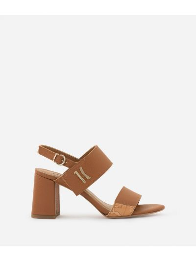 Sandal in grainy cowhide leather Brown