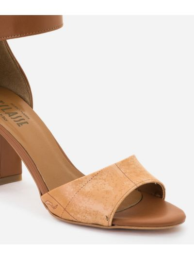 High-heel sandals in smooth cowhide leather Brown