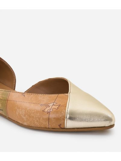 Pointed ballet flats in Geo Classic print nappa and laminated leather