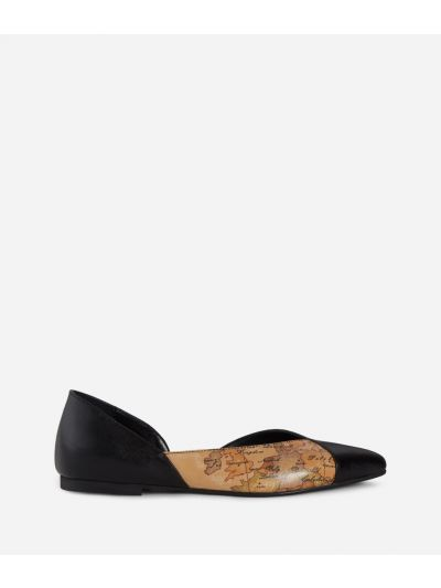 Pointed ballet flats in Geo Classic print nappa and leather Black