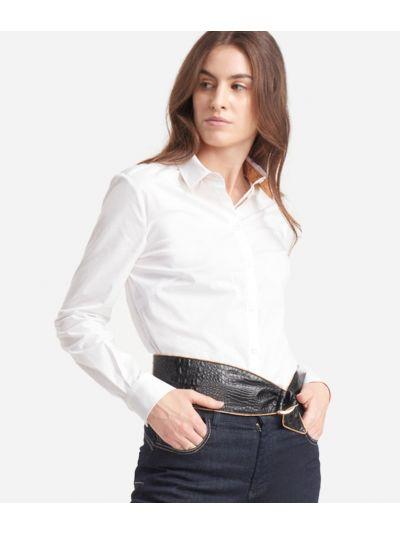 Camicia in popeline di cotone stretch Bianca